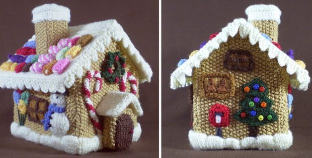 Knitted Gingerbread House Free Knitting Pattern