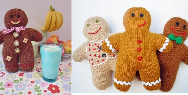 Fun Knitted Gingerbread Men Free Knitting Pattern
