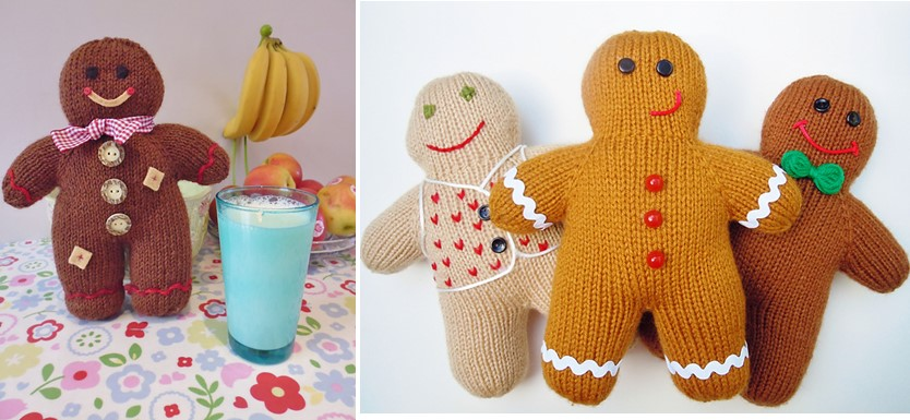Gingerbread Blanket Knitting Pattern : Fun Knitted Gingerbread Men [FREE Knitting Pattern]