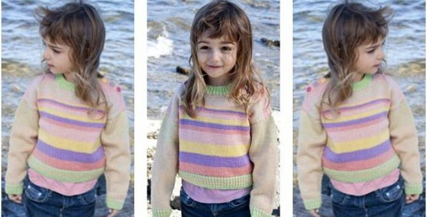 af0cb83e9e50 Girls  Knitted Striped Sweater  FREE Knitting Pattern