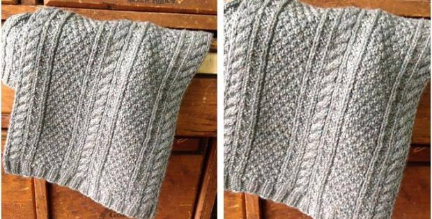 Gorgeous Gansey Knitted Scarf Free Knitting Pattern