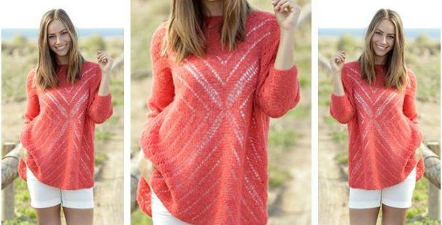 Gorgeous Knitted Lace Sweater Free Knitting Pattern