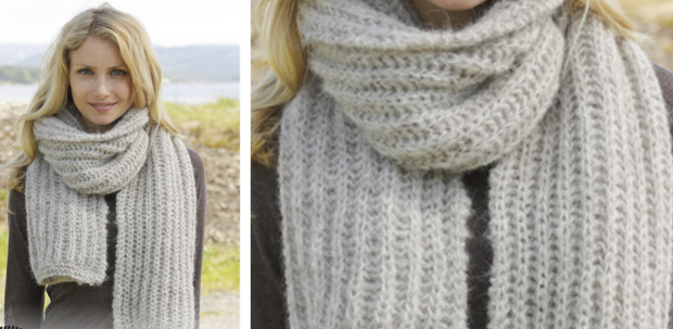 Grey Mist Knitted Ribbed Scarf [FREE Knitting Pattern]
