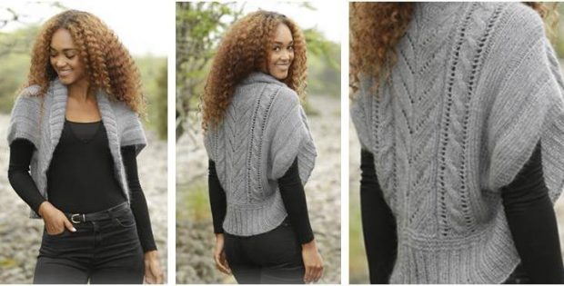 Grey Whisper Knitted Bolero Free Knitting Pattern
