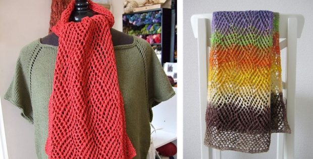 Gridwork Knitted Lace Scarf Free Knitting Pattern