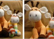 happy knitted giraffe sock toy | the knitting space
