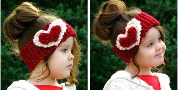 Heart Knitted Head Warmer Free Knitting Pattern