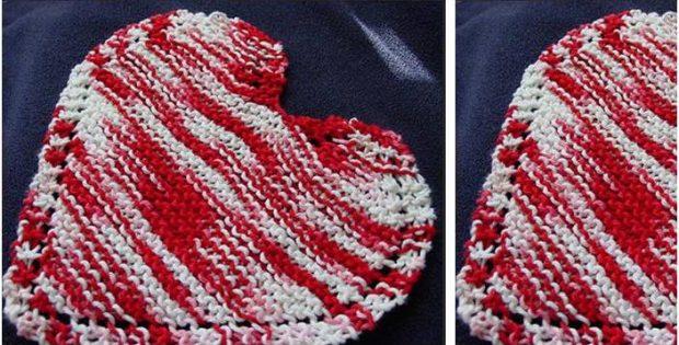 Heart Shaped Knitted Dishcloth Free Knitting Pattern