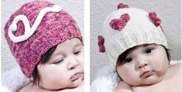 hearts 'n flowers knitted baby hats | the knitting space