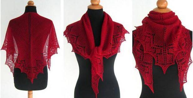 Hearty Lace Knitted Shawl Free Knitting Pattern