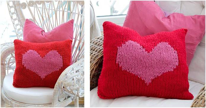 Hearty Love Knitted Cushion Cover Free Knitting Pattern