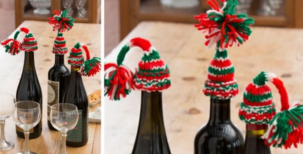 holiday knitted bottle beanies | the knitting space