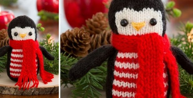 cheerful knitted holiday penguin | the knitting space