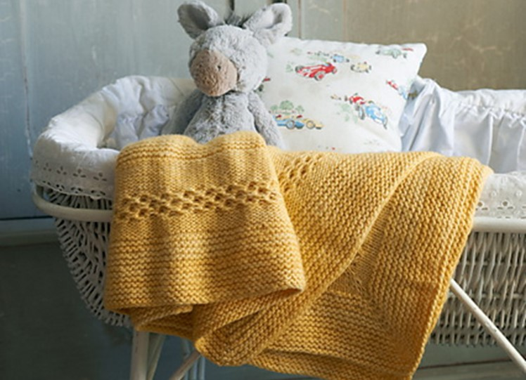 Honeycomb Knitted Concentric Square Baby Blanket Free
