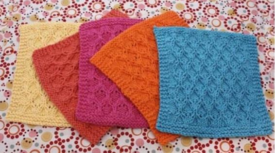 Knit Honeycomb Check Dishcloth Free Knitting Pattern