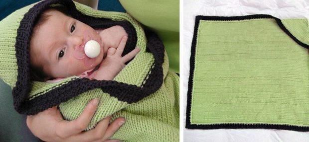 Hoodie Knitted Baby Blanket Free Knitting Pattern