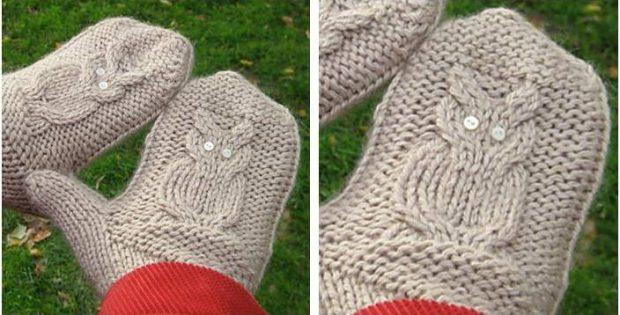 Hooty Owl Knitted Cable Mittens Free Knitting Pattern