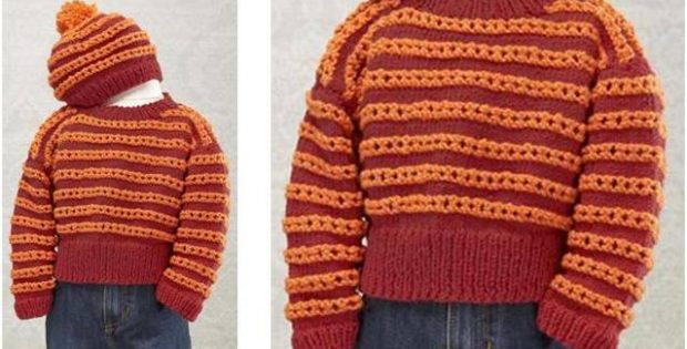Hot Rod Knitted Baby Sweaterhat Set Free Knitting Pattern