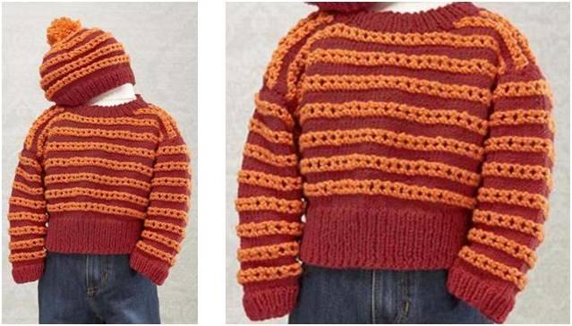 Hoodie Hat Knitting Pattern Free : Hot Rod Knitted Baby Sweater/Hat Set [FREE Knitting Pattern]