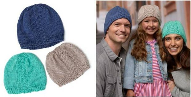 Huggy Knitted Herringbone Hats Free Knitting Pattern