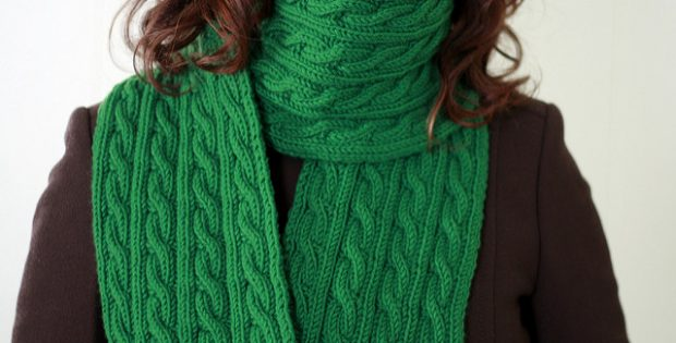 Irish Knitted Hiking Scarf With Cables Free Knitting Pattern