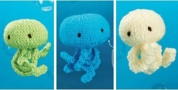Knitting Pattern For Jellyfish : Irresistibly Cute Knitted Jellyfish Trio [Free Knitting Pattern]
