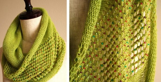 Jeweled Knitted Lace Cowl Free Knitting Pattern