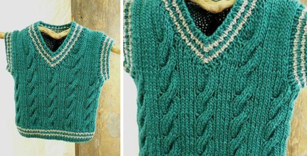 Keene Knitted Toddler Vest Free Knitting Pattern
