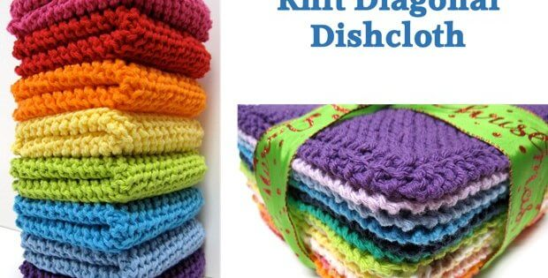 Diagonally Knitted Dishcloths Free Knitting Pattern