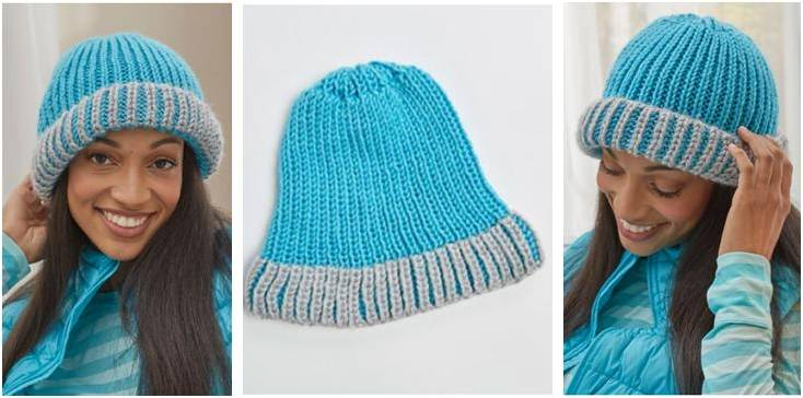 Knitted Brioche Fisherman S Rib Hat Free Knitting Pattern