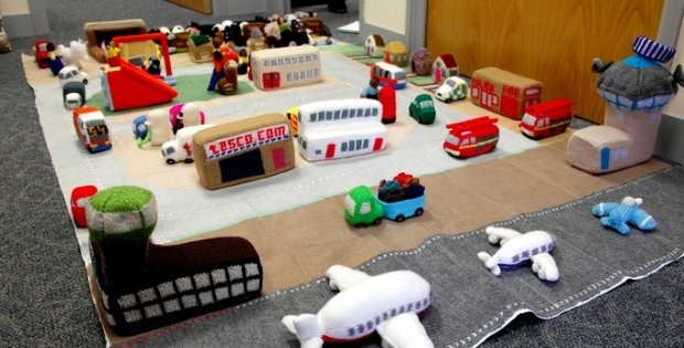 knitter creates entire city   the knitting space