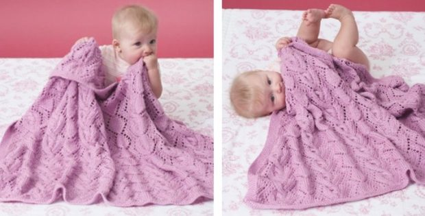 Knitted Lace Baby Blanket With Cables Free Knitting Pattern