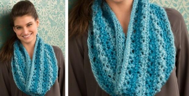 Knitted Lace Cowl Free Knitting Pattern