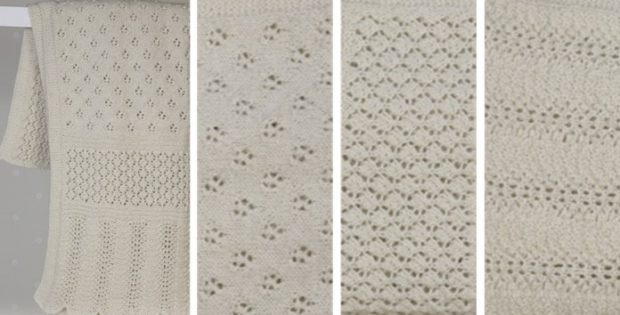 Lace panel knitted baby blanket free knitting pattern dt1010fo