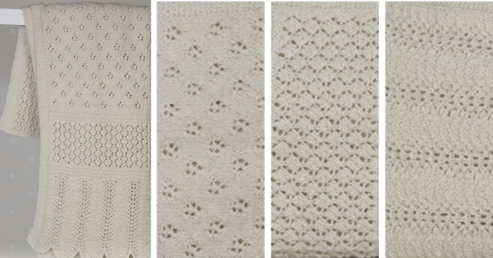 Lace Panel Knitted Baby Blanket Free Knitting Pattern