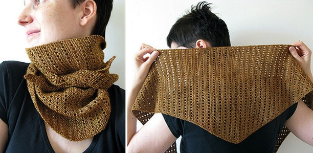 Lacy Baktus Knitted Bandana Scarf Free Knitting Pattern
