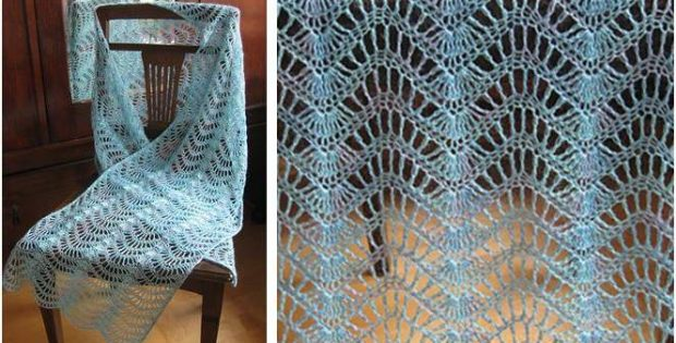 Lacy Feather N Fan Knitted Wrap Free Knitting Pattern