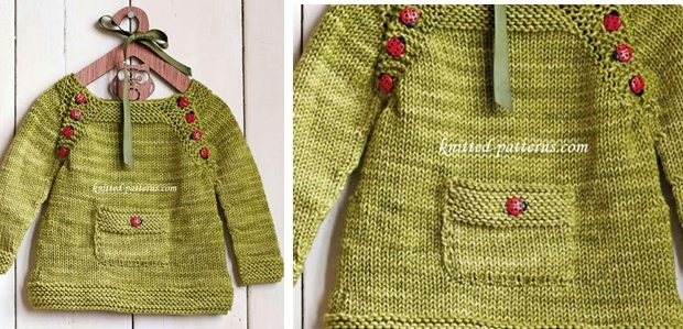 Ladybird knitted baby pullover | the knitting space