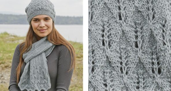 Lake District Knitted Lace Scarf And Hat Free Pattern