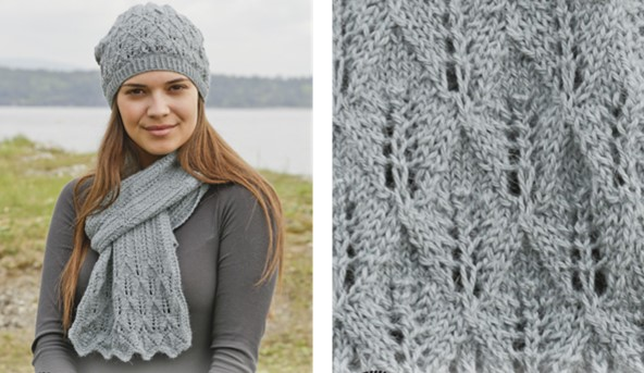 Knitting Patterns Scarves And Hats : Lake District Knitted Lace Scarf And Hat [FREE Pattern]