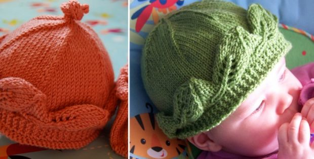 Leaf Edged Knitted Baby Hat Free Knitting Pattern