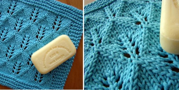 knitted leaf lace washcloth | the knitting space