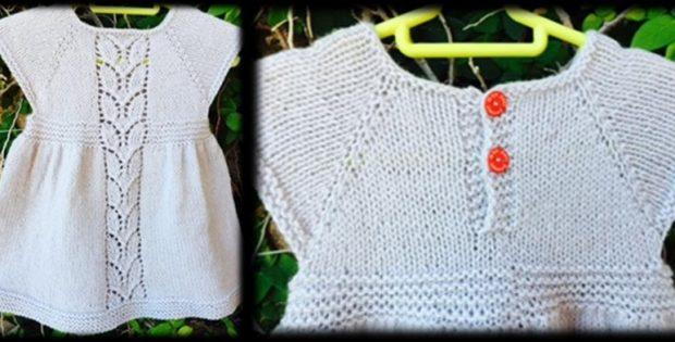 Leaf Love Knitted Baby Dress Free Knitting Pattern