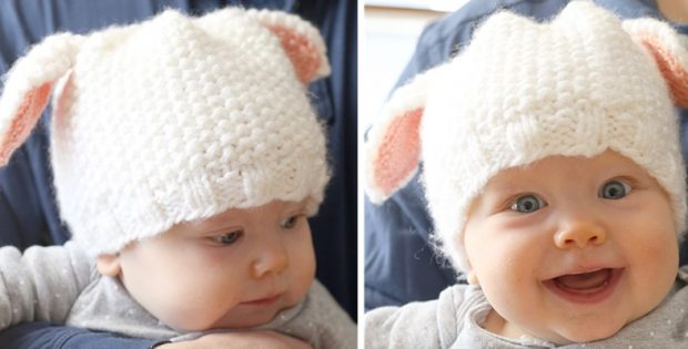 Cute Little Lamb Knitted Baby Hat Free Knitting Pattern