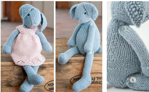 Knit Lizzie Rabbit And Dress Free Knitting Pattern