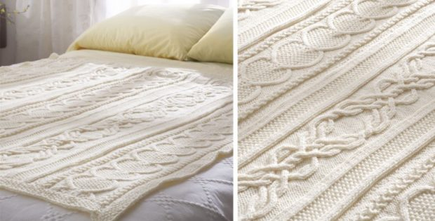 Love gift knitted cable afghan free knitting pattern dt1010fo