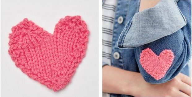 lovely heart knitted applique | the knitting space