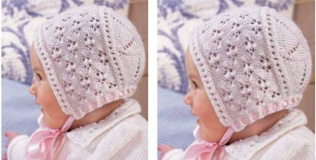 Lovely Lace Knitted Baby Hat Free Knitting Pattern