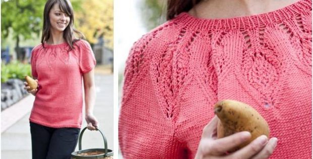 Lovely Lace Round Yoke Knit Shirt Free Knitting Pattern