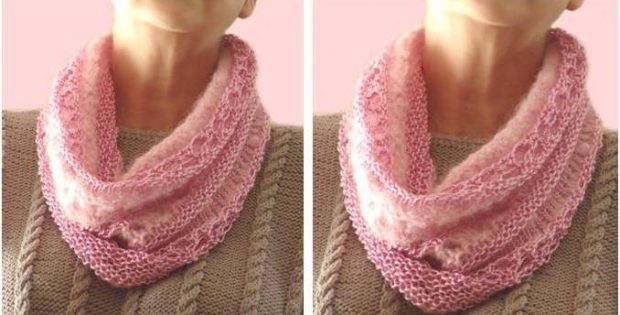 Lovely Mist Knitted Lace Cowl Free Knitting Pattern